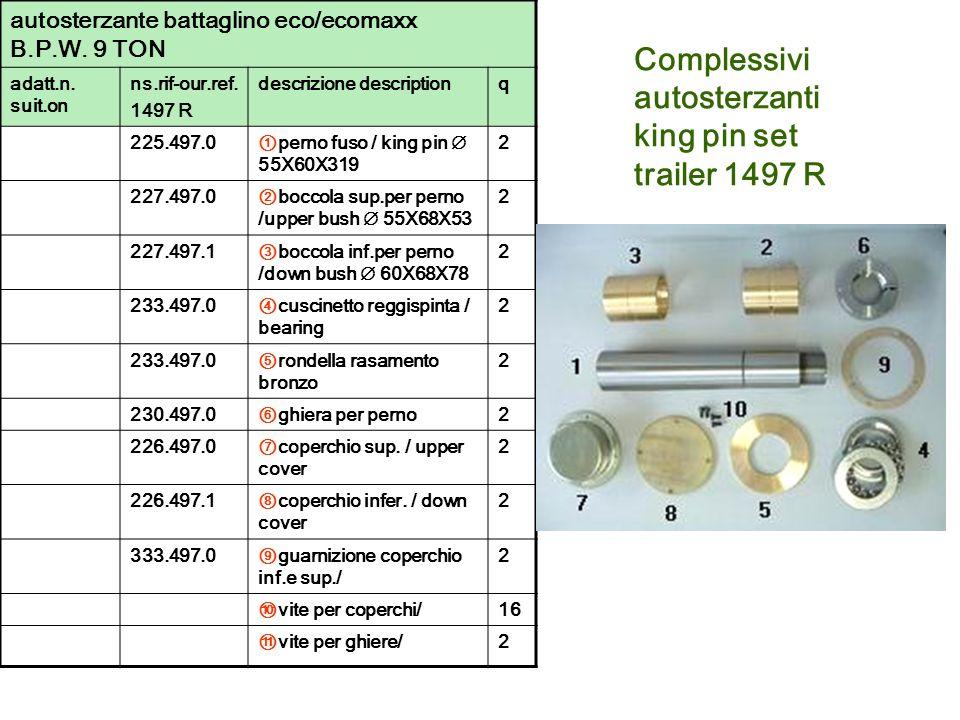 Complessivi autosterzanti king pin set trailer 1497 R autosterzante battaglino eco/ecomaxx B.P.W. 9 TON adatt.n. suit.on ns.rif-our.ref. 1497 R descri