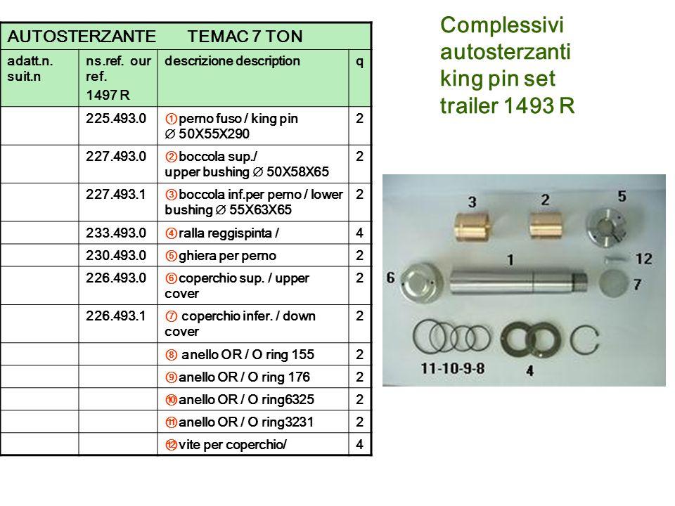 Complessivi autosterzanti king pin set trailer 1493 R AUTOSTERZANTE TEMAC 7 TON adatt.n. suit.n ns.ref. our ref. 1497 R descrizione descriptionq 225.4