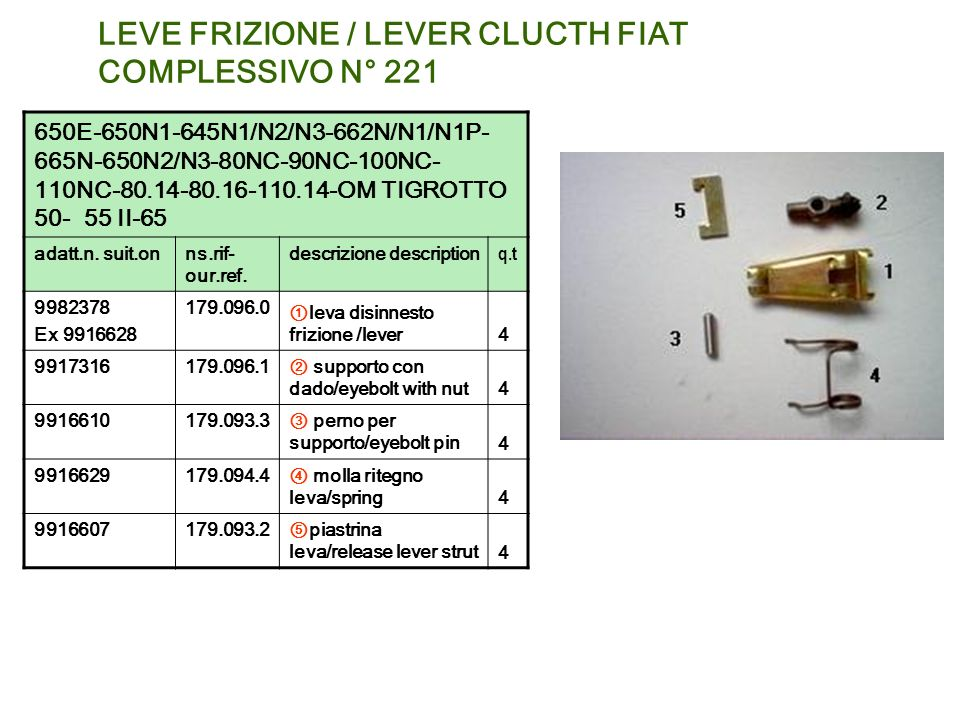 LEVE FRIZIONE / LEVER CLUCTH FIAT COMPLESSIVO N° 221 650E-650N1-645N1/N2/N3-662N/N1/N1P- 665N-650N2/N3-80NC-90NC-100NC- 110NC-80.14-80.16-110.14-OM TI