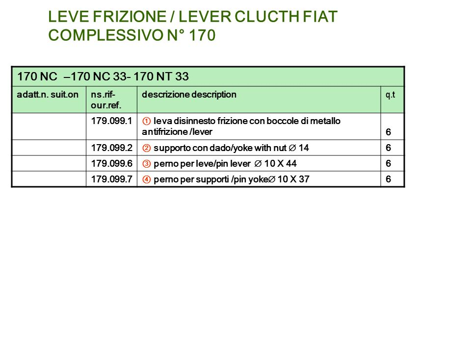 LEVE FRIZIONE / LEVER CLUCTH FIAT COMPLESSIVO N° 170 170 NC –170 NC 33- 170 NT 33 adatt.n. suit.onns.rif- our.ref. descrizione description q.t 179.099