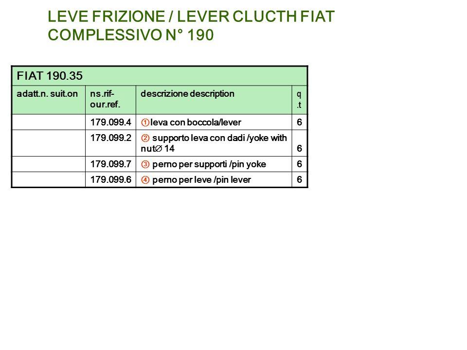 LEVE FRIZIONE / LEVER CLUCTH FIAT COMPLESSIVO N° 190 FIAT 190.35 adatt.n. suit.onns.rif- our.ref. descrizione description q.t 179.099.4 leva con bocco