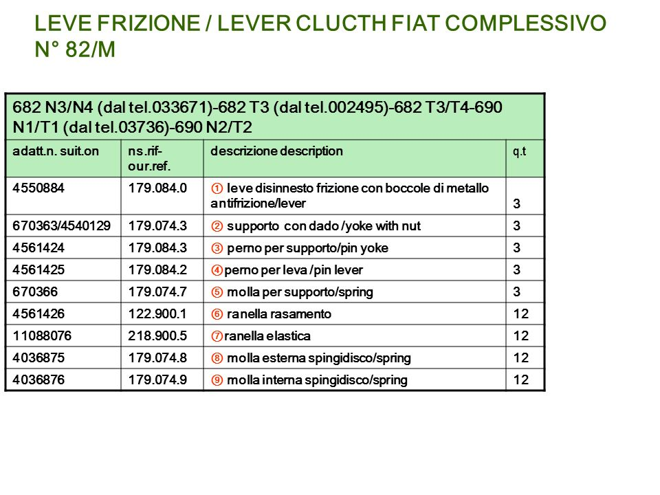 LEVE FRIZIONE / LEVER CLUCTH FIAT COMPLESSIVO N° 82/M 682 N3/N4 (dal tel.033671)-682 T3 (dal tel.002495)-682 T3/T4-690 N1/T1 (dal tel.03736)-690 N2/T2