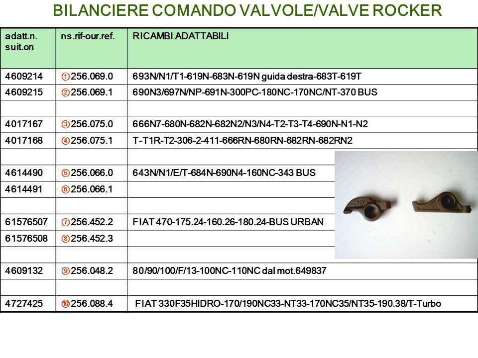 BILANCIERE COMANDO VALVOLE/VALVE ROCKER adatt.n. suit.on ns.rif-our.ref.RICAMBI ADATTABILI 4609214256.069.0693N/N1/T1-619N-683N-619N guida destra-683T