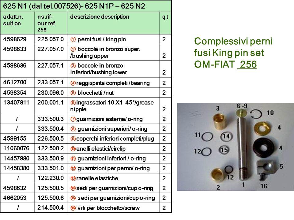 625 N1 (dal tel.007526)- 625 N1P – 625 N2 adatt.n. suit.on ns.rif- our.ref. 256 descrizione description q.t 4598629225.057.0 perni fusi / king pin2 45