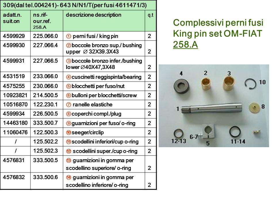 309(dal tel.004241)- 643 N/N1/T(per fusi 4611471/3) adatt.n. suit.on ns.rif- our.ref. 258.A descrizione description q.t 4599929225.066.0 perni fusi /