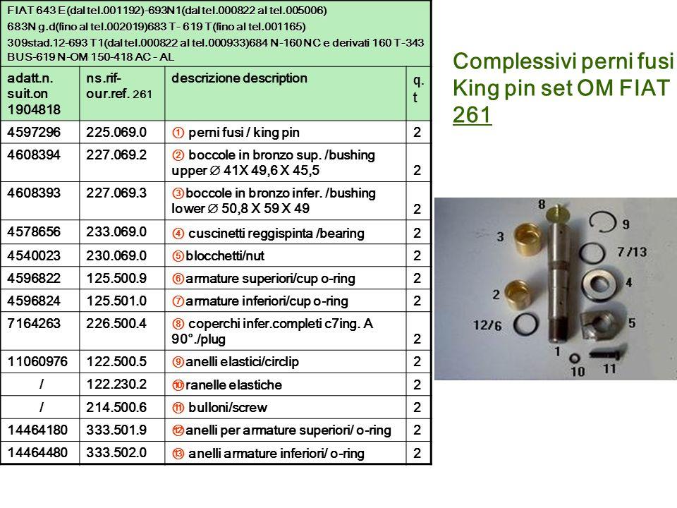 Complessivi perni fusi King pin set OM FIAT 261 FIAT 643 E(dal tel.001192)-693N1(dal tel.000822 al tel.005006) 683N g.d(fino al tel.002019)683 T- 619