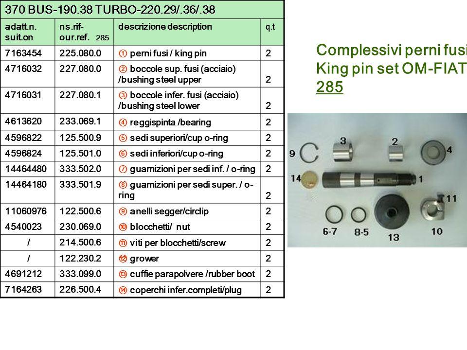 Complessivi perni fusi King pin set OM-FIAT 285 370 BUS-190.38 TURBO-220.29/.36/.38 adatt.n. suit.on ns.rif- our.ref. 285 descrizione description q.t