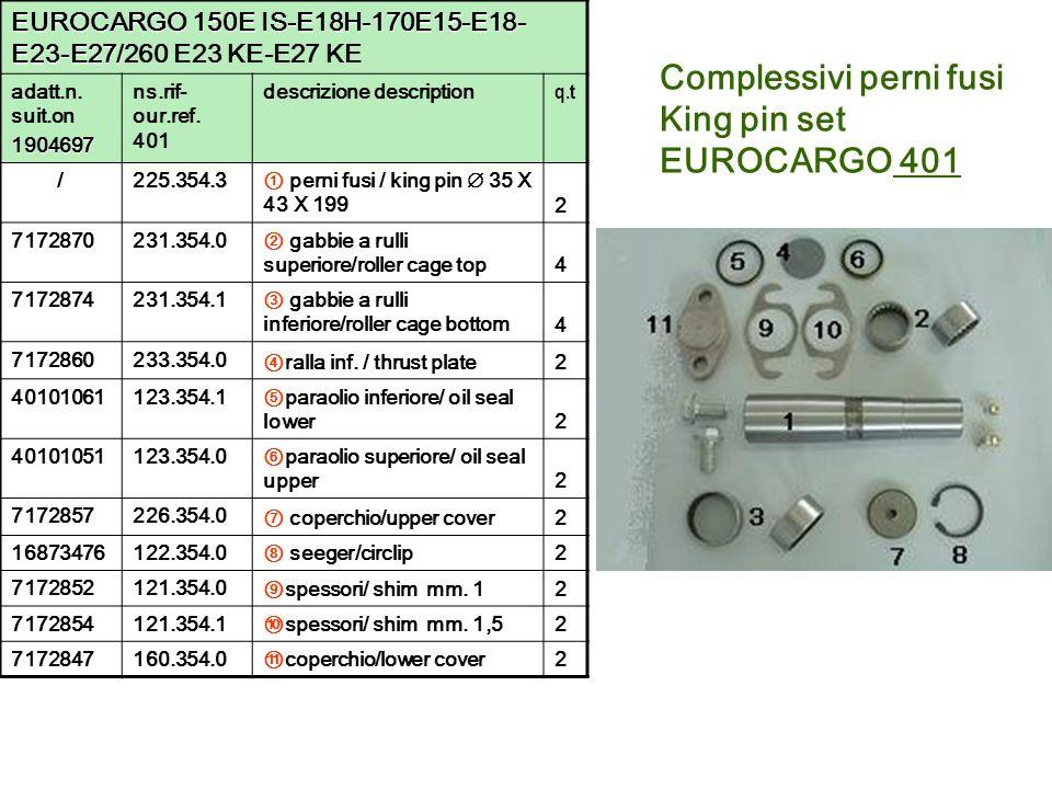 Complessivi perni fusi King pin set EUROCARGO 401 EUROCARGO 150E IS-E18H-170E15-E18- E23-E27/ EUROCARGO 150E IS-E18H-170E15-E18- E23-E27/260 E23 KE-E2