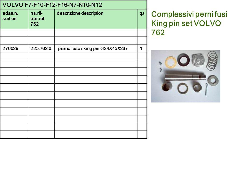 Complessivi perni fusi King pin set VOLVO 762 VOLVO F7-F10-F12-F16-N7-N10-N12 adatt.n. suit.on ns.rif- our.ref. 762 descrizione description q.t 276029