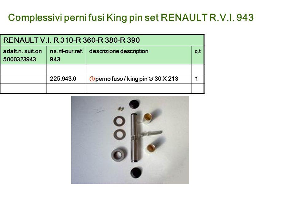 Complessivi perni fusi King pin set RENAULT R.V.I. 943 RENAULT V.I. R 310-R 360-R 380-R 390 adatt.n. suit.on 5000323943 ns.rif-our.ref. 943 descrizion