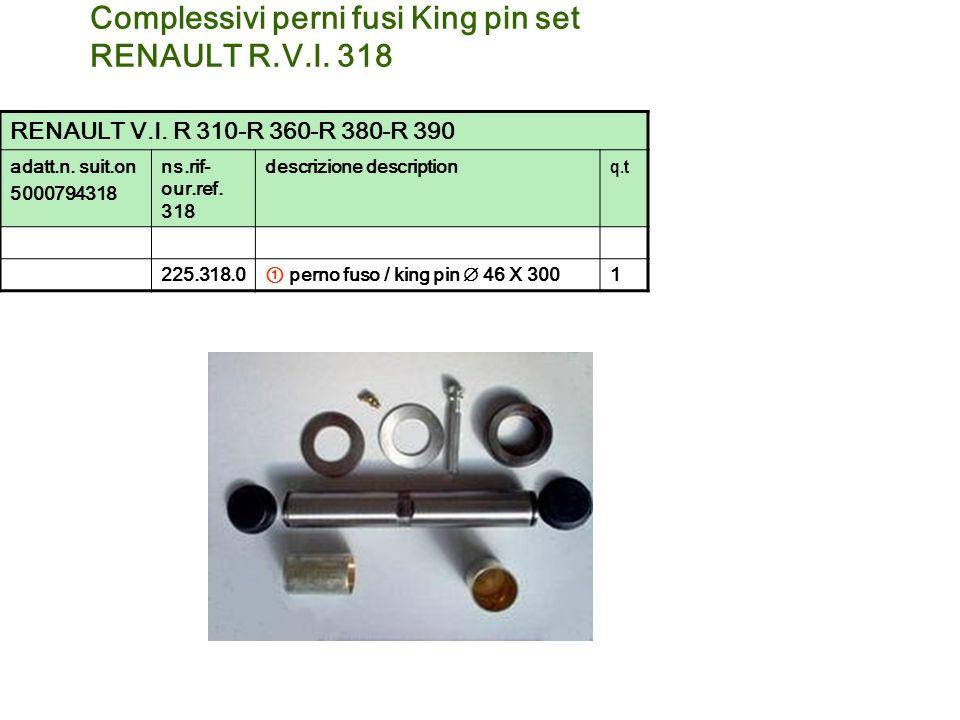 Complessivi perni fusi King pin set RENAULT R.V.I. 318 RENAULT V.I. R 310-R 360-R 380-R 390 adatt.n. suit.on 5000794318 ns.rif- our.ref. 318 descrizio