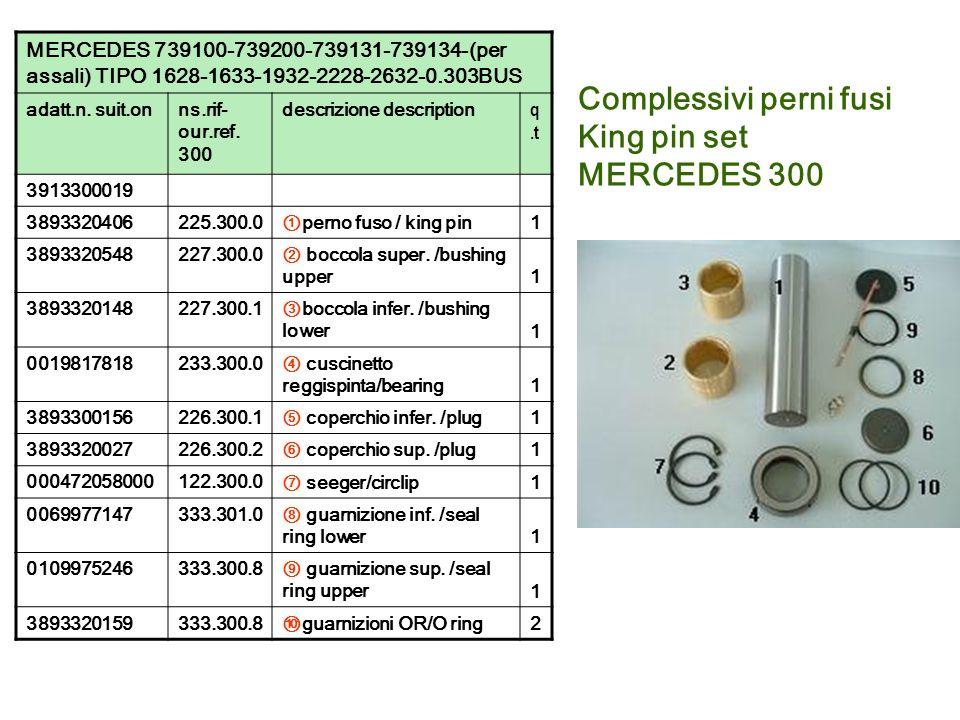 Complessivi perni fusi King pin set MERCEDES 300 MERCEDES 739100-739200-739131-739134-(per assali) TIPO 1628-1633-1932-2228-2632-0.303BUS adatt.n. sui
