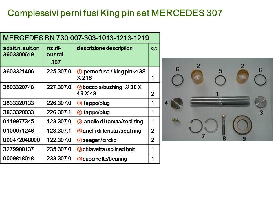 Complessivi perni fusi King pin set MERCEDES 307 MERCEDES BN 730.007-303-1013-1213-1219 adatt.n. suit.on 3603300619 ns.rif- our.ref. 307 descrizione d