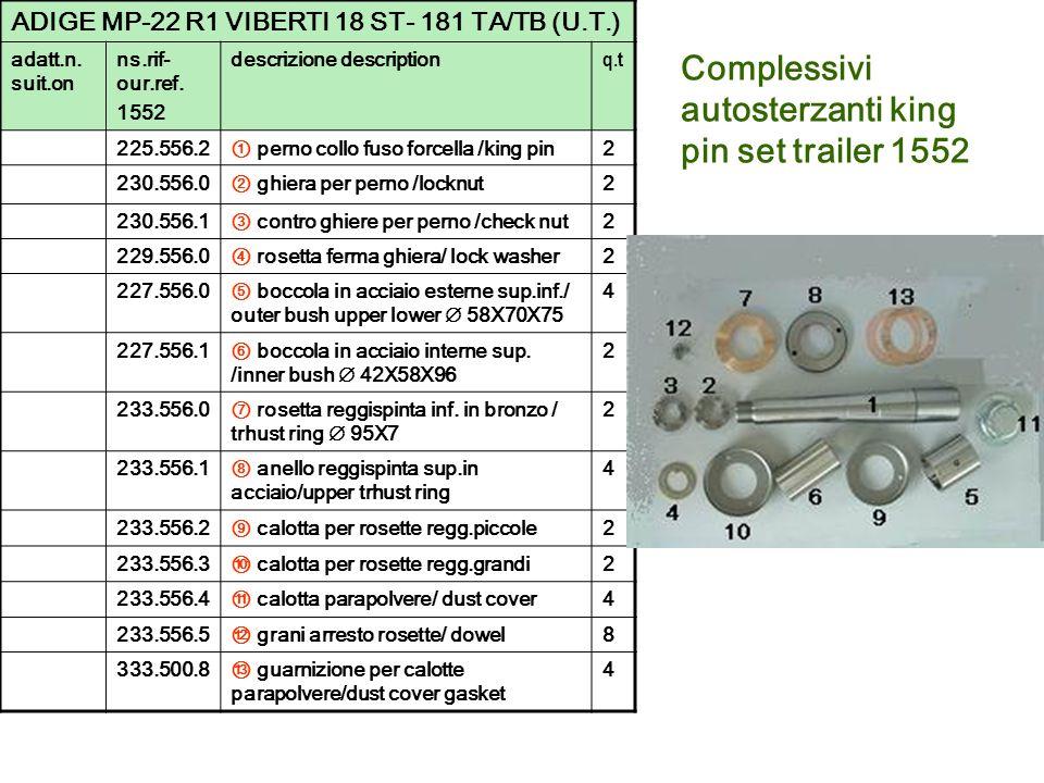 Complessivi autosterzanti king pin set trailer 1552 ADIGE MP-22 R1 VIBERTI 18 ST- 181 TA/TB (U.T.) adatt.n. suit.on ns.rif- our.ref. 1552 descrizione