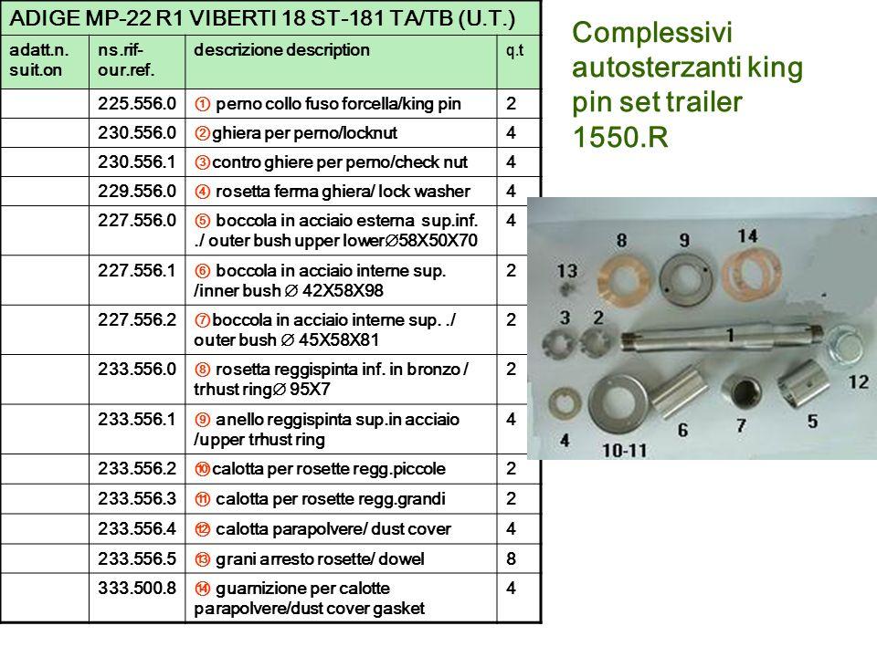 Complessivi autosterzanti king pin set trailer 1550.R ADIGE MP-22 R1 VIBERTI 18 ST-181 TA/TB (U.T.) adatt.n. suit.on ns.rif- our.ref. descrizione desc