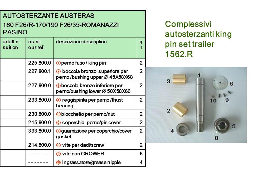 Complessivi autosterzanti king pin set trailer 1562.R AUTOSTERZANTE AUSTERAS 160 F26/R-170/190 F26/35-ROMANAZZI PASINO adatt.n. suit.on ns.rif- our.re