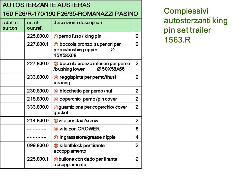 Complessivi autosterzanti king pin set trailer 1563.R AUTOSTERZANTE AUSTERAS 160 F26/R-170/190 F26/35-ROMANAZZI PASINO adatt.n. suit.on ns.rif- our.re