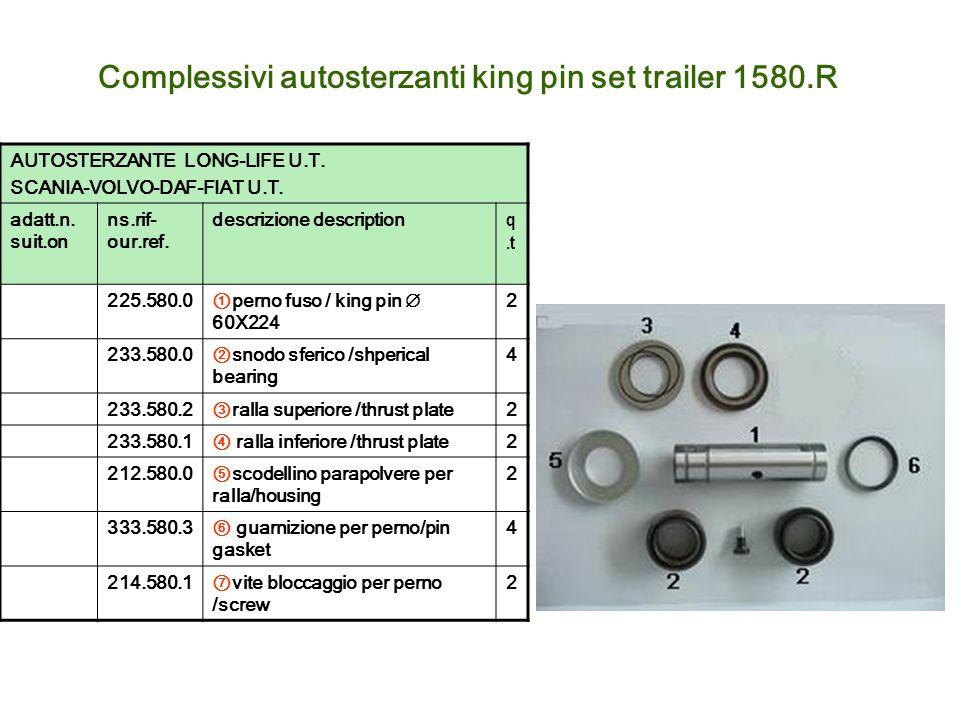 Complessivi autosterzanti king pin set trailer 1580.R AUTOSTERZANTE LONG-LIFE U.T. SCANIA-VOLVO-DAF-FIAT U.T. adatt.n. suit.on ns.rif- our.ref. descri