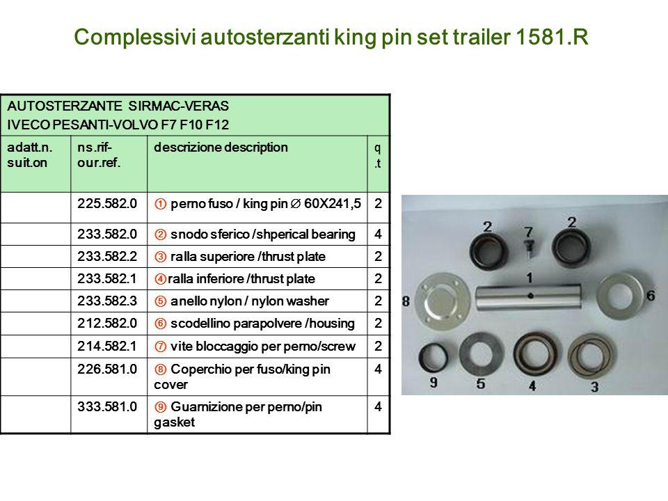 Complessivi autosterzanti king pin set trailer 1581.R AUTOSTERZANTE SIRMAC-VERAS IVECO PESANTI-VOLVO F7 F10 F12 adatt.n. suit.on ns.rif- our.ref. desc