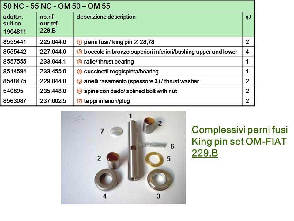 50 NC - 55 NC - OM 50 – OM 55 adatt.n. suit.on 1904811 ns.rif- our.ref. 229.B descrizione description q.t 8555441225.044.0 perni fusi / king pin 28,78
