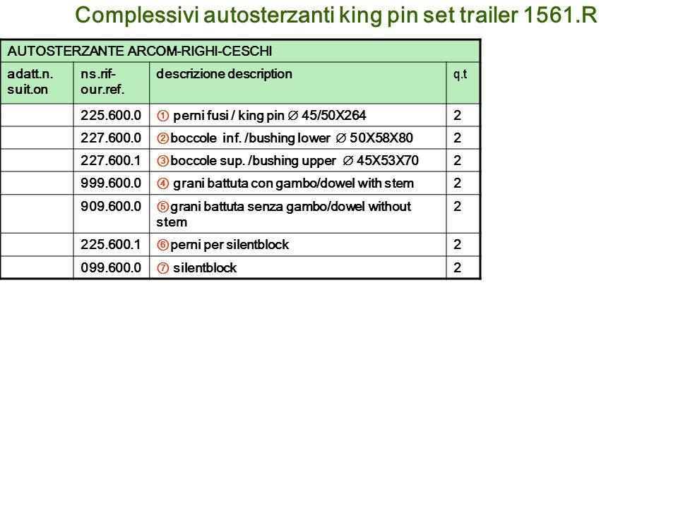 Complessivi autosterzanti king pin set trailer 1561.R AUTOSTERZANTE ARCOM-RIGHI-CESCHI adatt.n. suit.on ns.rif- our.ref. descrizione description q.t 2