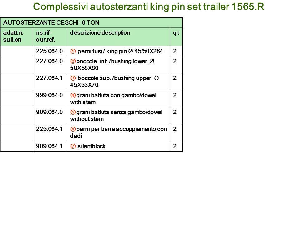 Complessivi autosterzanti king pin set trailer 1565.R AUTOSTERZANTE CESCHI- 6 TON adatt.n. suit.on ns.rif- our.ref. descrizione description q.t 225.06