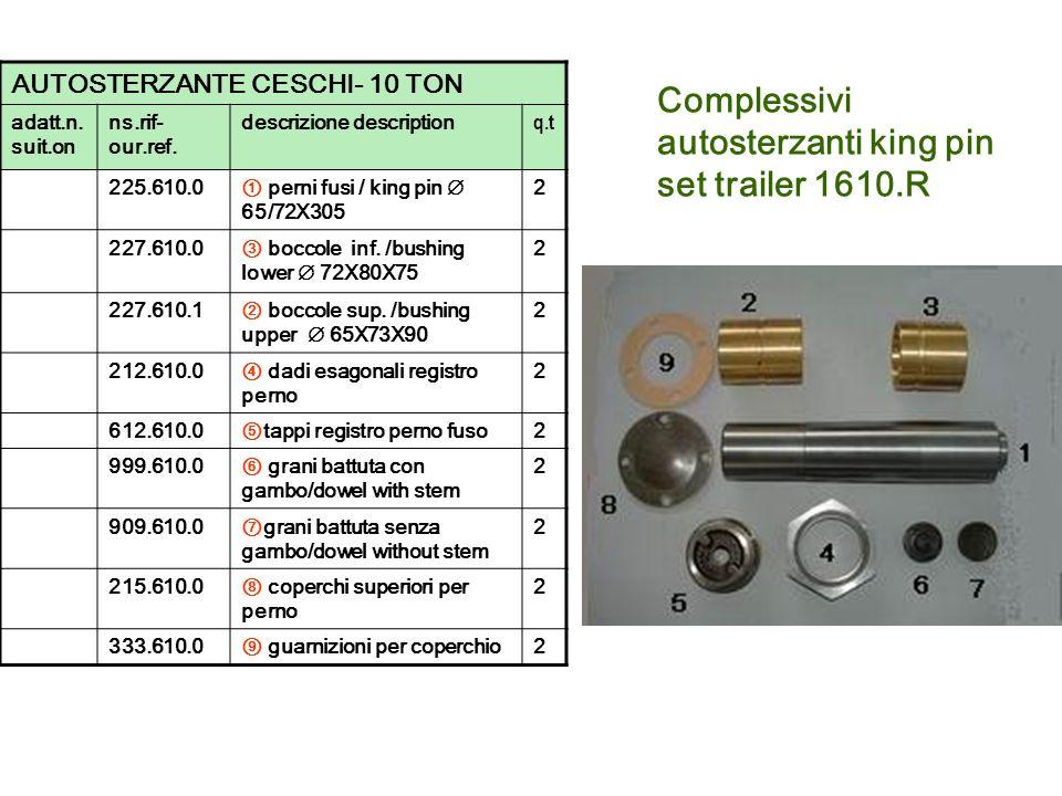 Complessivi autosterzanti king pin set trailer 1610.R AUTOSTERZANTE CESCHI- 10 TON adatt.n. suit.on ns.rif- our.ref. descrizione description q.t 225.6