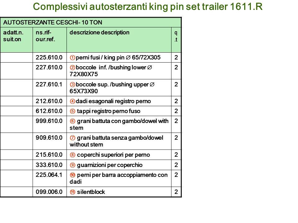 Complessivi autosterzanti king pin set trailer 1611.R AUTOSTERZANTE CESCHI- 10 TON adatt.n. suit.on ns.rif- our.ref. descrizione description q.t 225.6