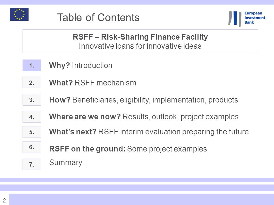 2 Table of Contents 2. 3. What? RSFF mechanism Where are we now? Results, outlook, project examples 1. Why? Introduction RSFF – Risk-Sharing Finance F