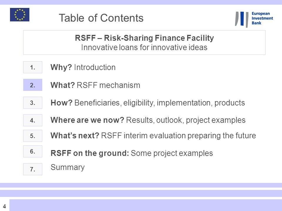 4 Table of Contents 1. 3. What? RSFF mechanism Where are we now? Results, outlook, project examples 2. Why? Introduction RSFF – Risk-Sharing Finance F