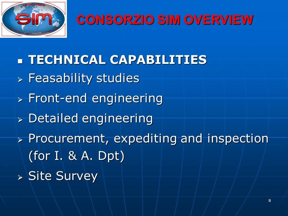 8 TECHNICAL CAPABILITIES TECHNICAL CAPABILITIES Feasability studies Feasability studies Front-end engineering Front-end engineering Detailed engineeri