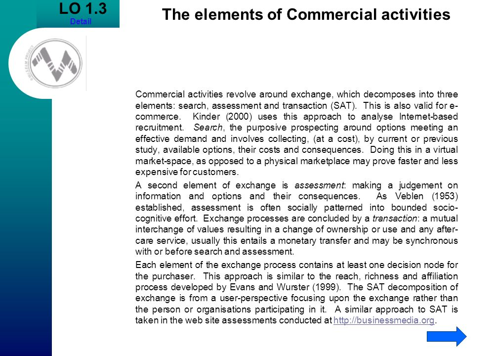 LO 1.3 Detail The elements of Commercial activities Commercial activities revolve around exchange, which decomposes into three elements: search, asses
