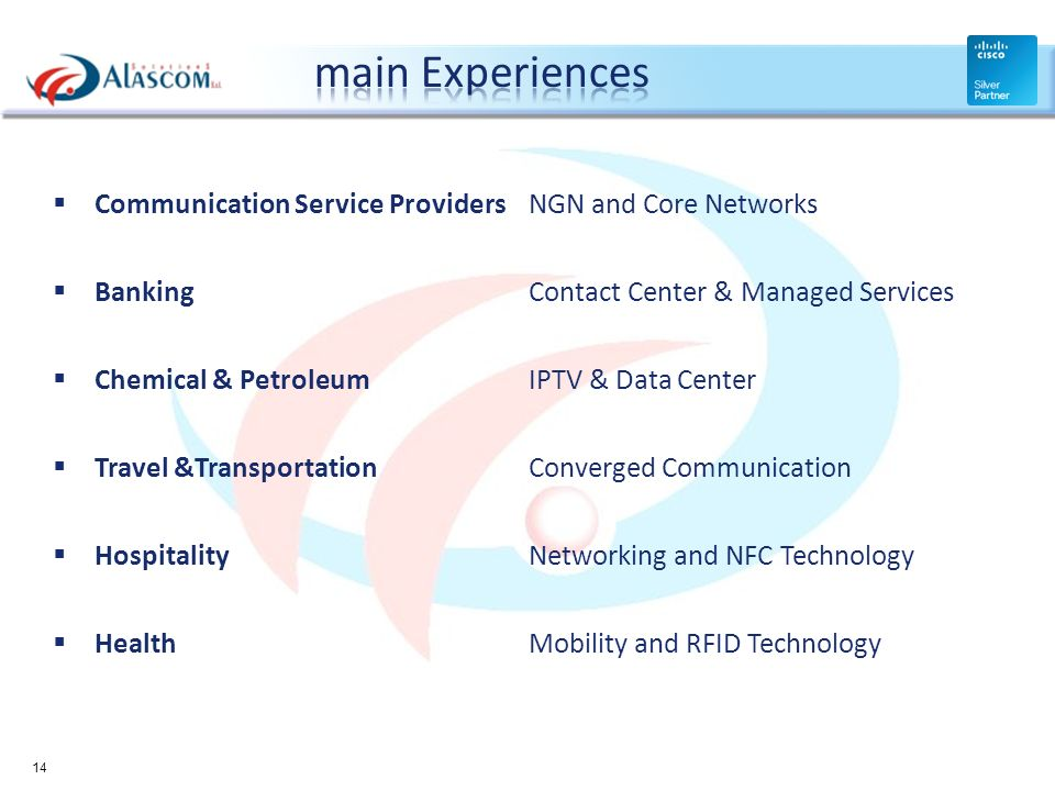 Communication Service Providers NGN and Core Networks BankingContact Center & Managed Services Chemical & PetroleumIPTV & Data Center Travel &Transpor