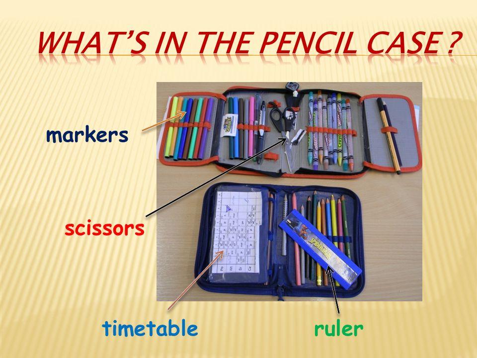 markers scissors timetableruler