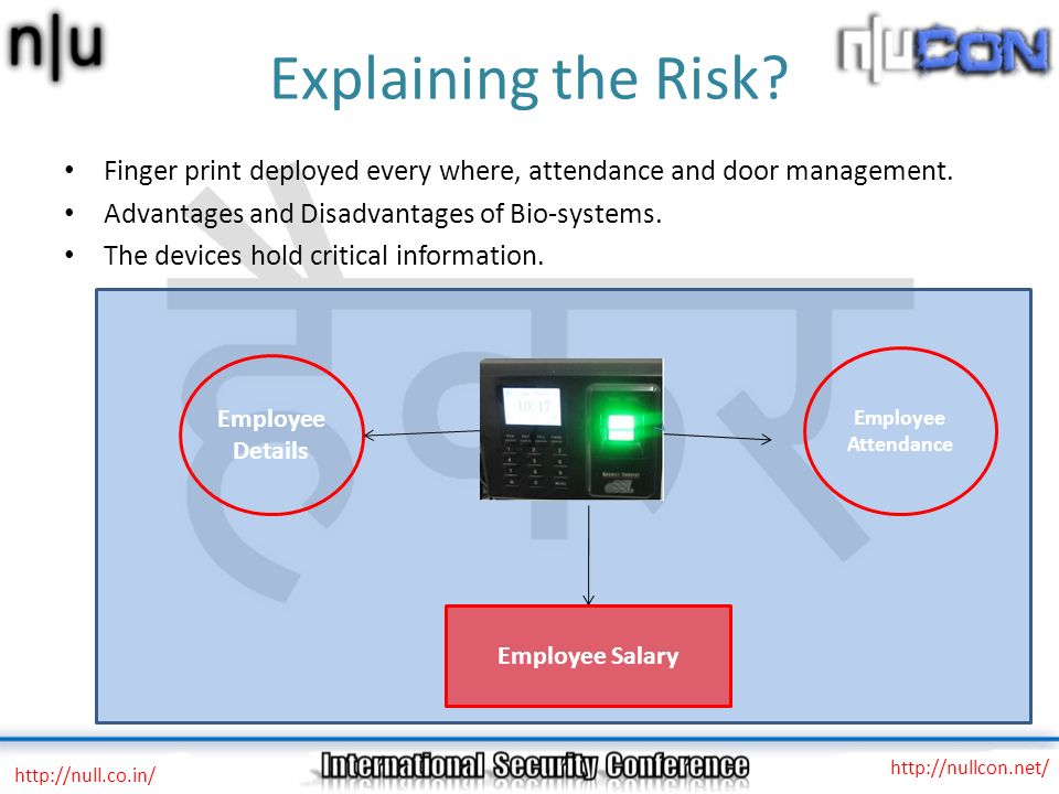 Explaining the Risk? Finger print deployed every where, attendance and door management. Advantages and Disadvantages of Bio-systems. The devices hold