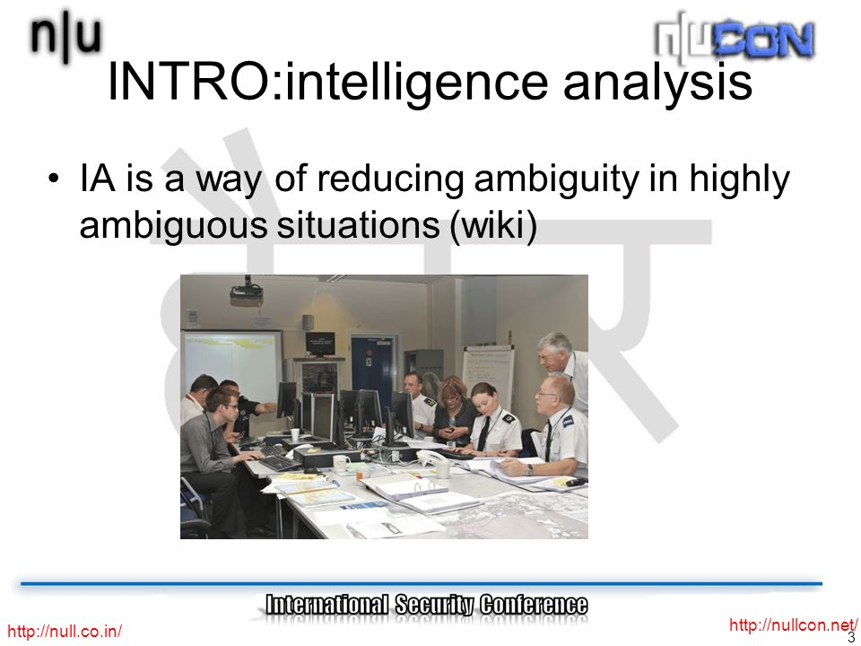 3     INTRO:intelligence analysis IA is a way of reducing ambiguity in highly ambiguous situations (wiki)