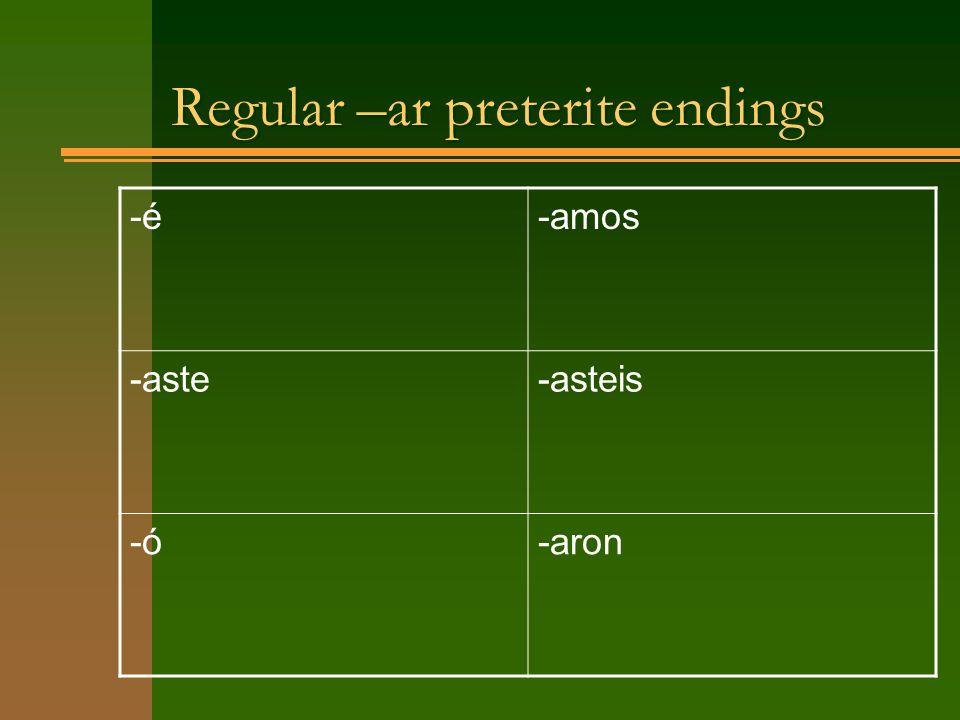 Regular –ar preterite endings -é-amos -aste-asteis -ó-aron