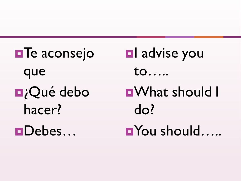 Te aconsejo que ¿Qué debo hacer Debes… I advise you to….. What should I do You should…..
