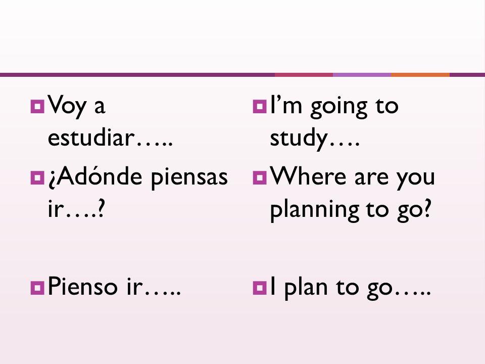 Voy a estudiar….. ¿Adónde piensas ir….. Pienso ir…..