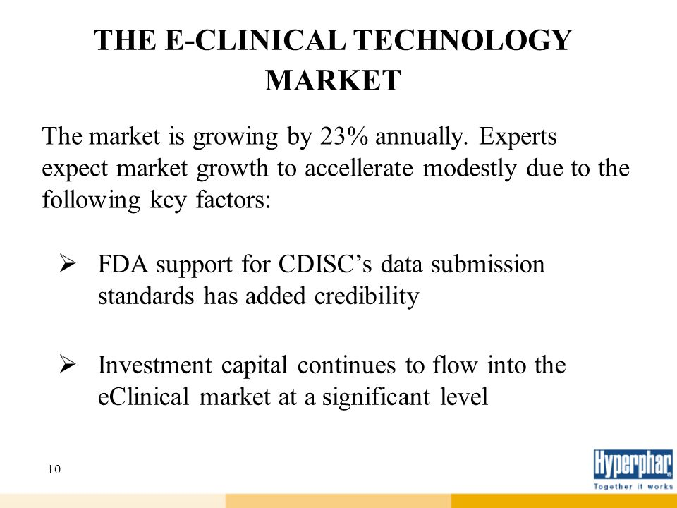 10 THE E-CLINICAL TECHNOLOGY MARKET The market is growing by 23% annually. Experts expect market growth to accellerate modestly due to the following k