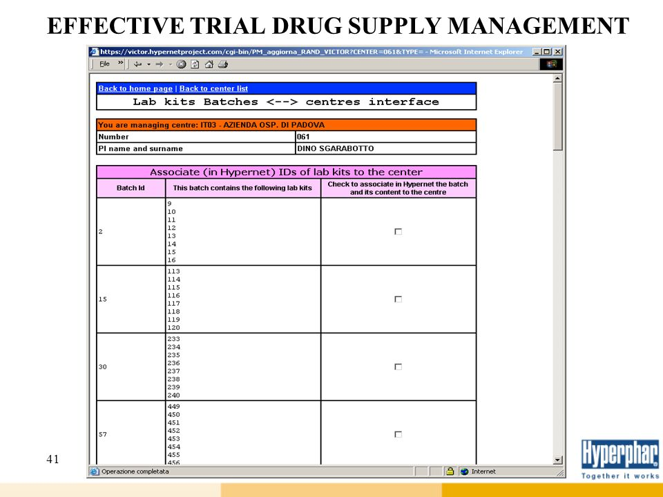 41 EFFECTIVE TRIAL DRUG SUPPLY MANAGEMENT
