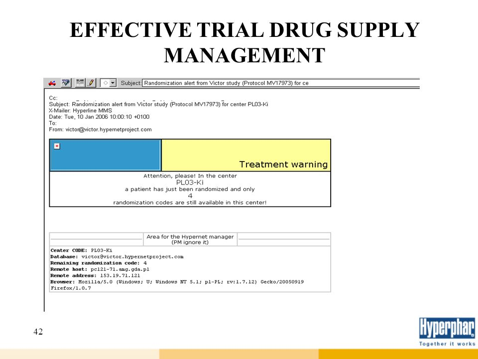 42 EFFECTIVE TRIAL DRUG SUPPLY MANAGEMENT