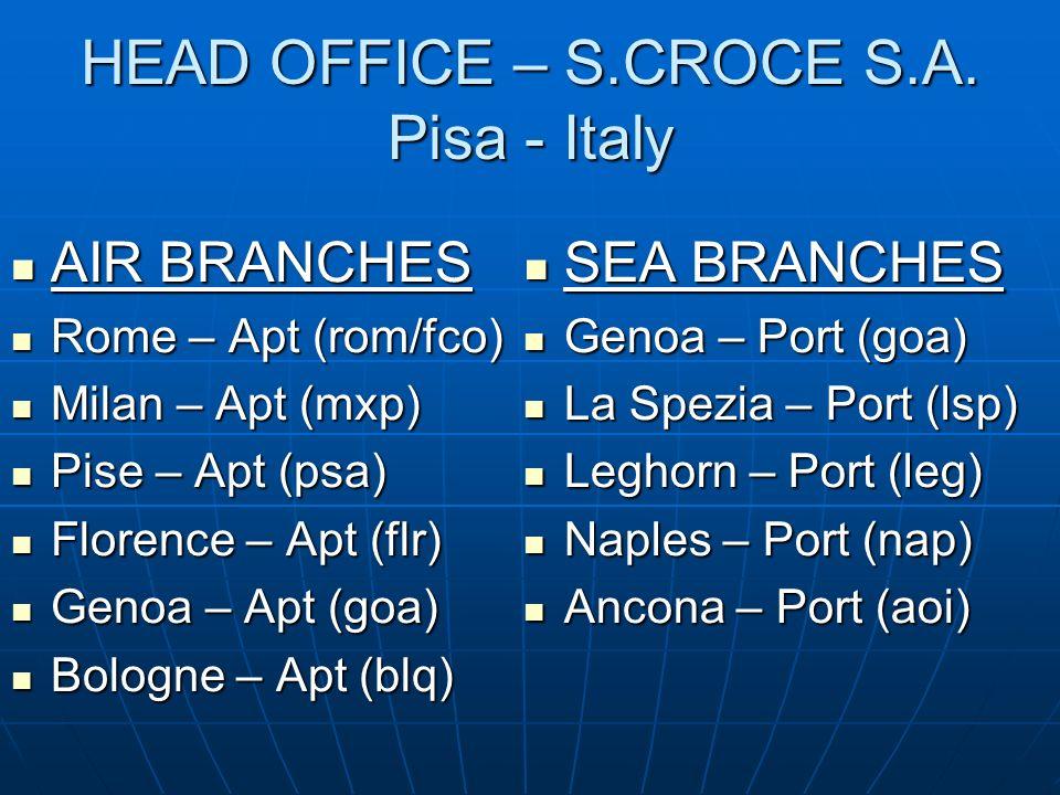 HEAD OFFICE – S.CROCE S.A. Pisa - Italy AIR BRANCHES AIR BRANCHES Rome – Apt (rom/fco) Rome – Apt (rom/fco) Milan – Apt (mxp) Milan – Apt (mxp) Pise –