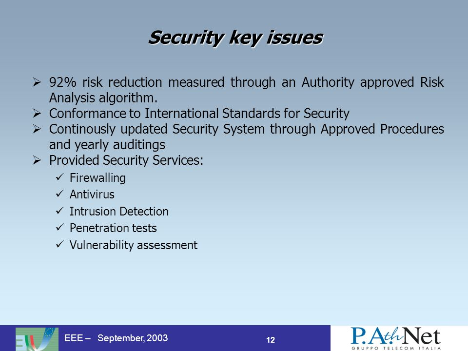 12 EEE – September, 2003 Security key issues 92% risk reduction measured through an Authority approved Risk Analysis algorithm. Conformance to Interna