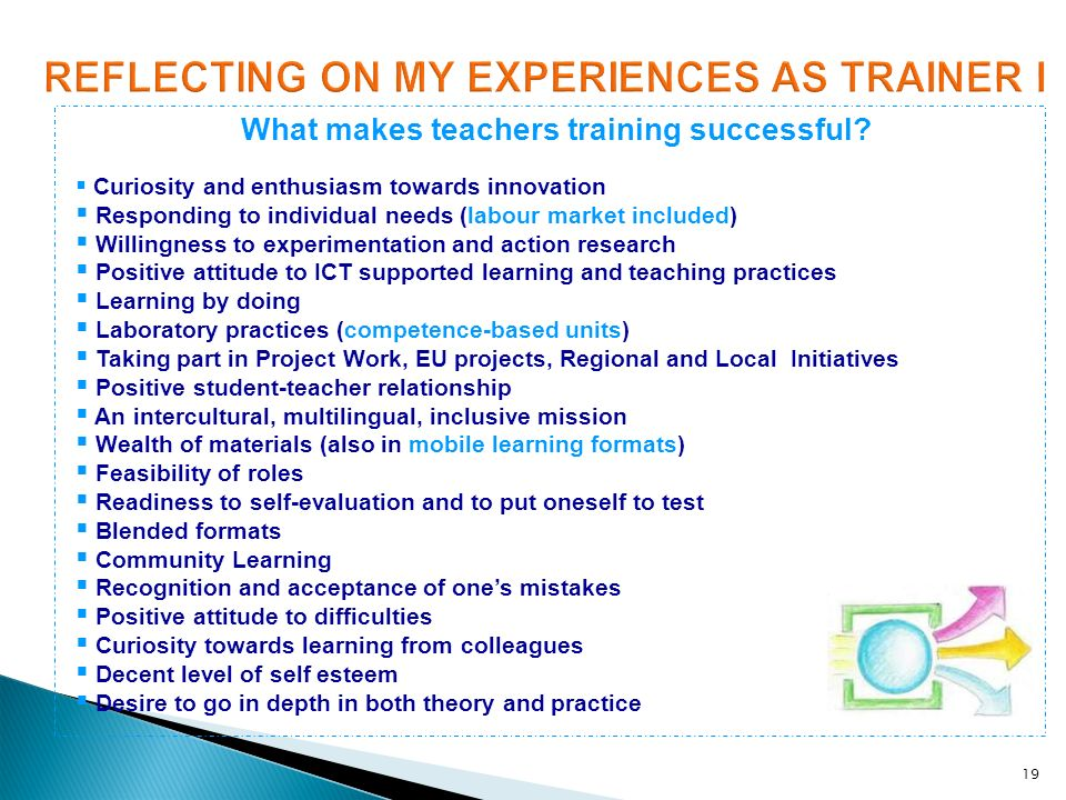19 What makes teachers training successful? Curiosity and enthusiasm towards innovation Responding to individual needs (labour market included) Willin