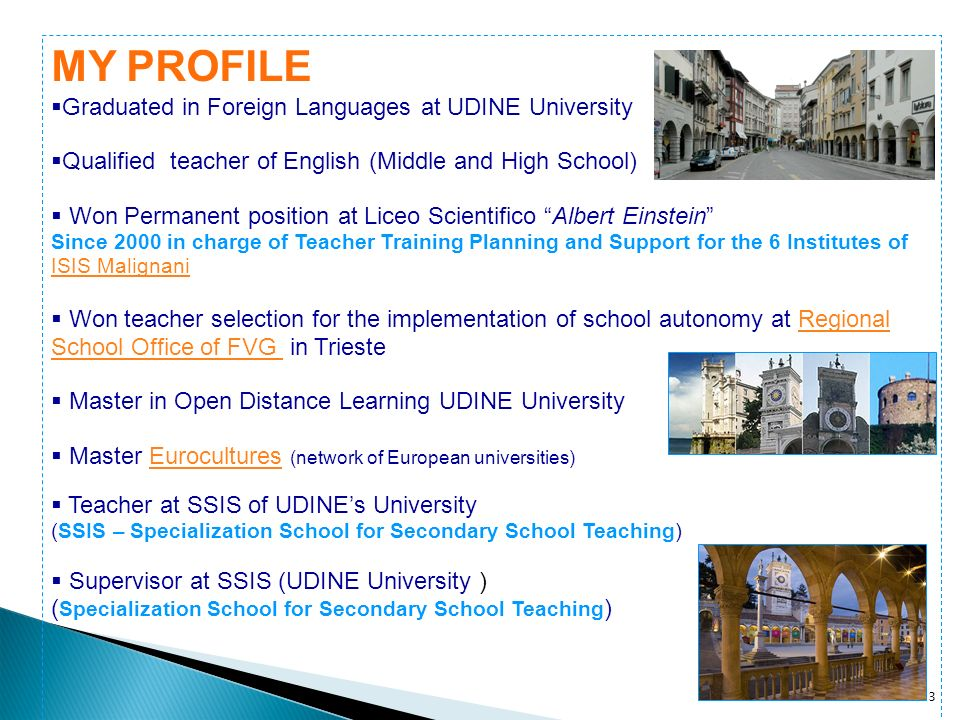 4 Teacher at Liceo scientifico (general upper secondary school specialising in scientific studiesl) since 1986 Teacher Trainer for the qualification and selection of teachers of middle and high school (Province Level) Teacher trainer for In-service and initial teachers – subject specific area (Provincial and Regional Level) Teacher operating for School Autonomy at Regional level (committed in the area of Integrated Training, Languages and European Project Work) In charge of ISIS Teachers Training Project – Research – Innovation ( Funzione Strumentale Area Sostegno al Lavoro dei docenti – Role incharge of teachers work support) PROFESSIONAL EXPERIENCES IN TEACHERS TRAINING