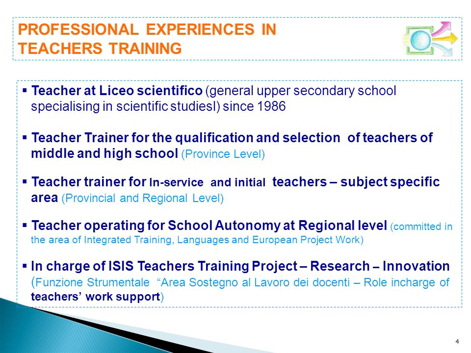 4 Teacher at Liceo scientifico (general upper secondary school specialising in scientific studiesl) since 1986 Teacher Trainer for the qualification a
