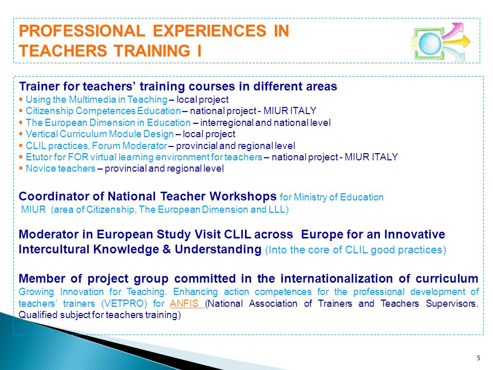 16 A Permanent teacher position requires following compulsory training (Legislation 270/1982).