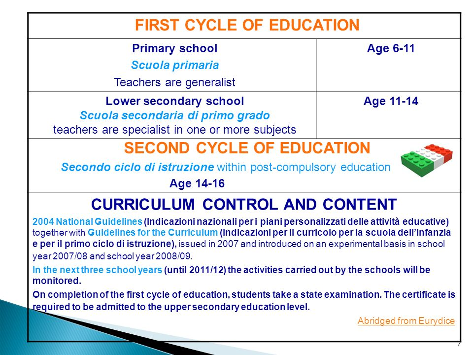 7 FIRST CYCLE OF EDUCATION Primary school Scuola primaria Teachers are generalist Age 6-11 Lower secondary school Scuola secondaria di primo grado tea