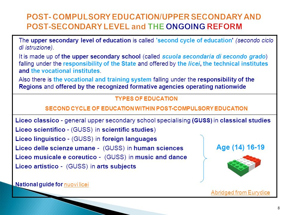 8 POST- COMPULSORY EDUCATION/UPPER SECONDARY AND POST-SECONDARY LEVEL and THE ONGOING REFORM The upper secondary level of education is called 'second